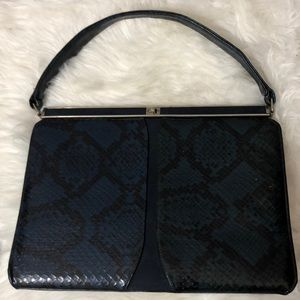 Vintage Snake Skin Purse Blue Leather